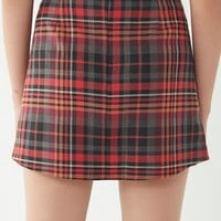 UO Red Checkered Pelmet Mini Skirt   Urban Outfitters