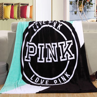 Red and Black PINK Love 130cm * 150cm Spring/Autumn Pink Coral Fleece Fabric Blankets Size Flannel VS Secret Very Sort