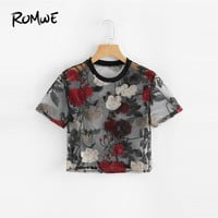 ROMWE Sheer Mesh Floral Embroidered Crop Top Ladies Short Sleeve Crop O-Neck Women Shirt 2018 Summer Sexy Blouse