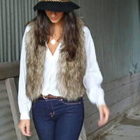 Women Faux Fur Vest Luxury Women Fur Waistcoat Short Single Button Fur Vest Elegant Natural Fur Vest [7653839366]