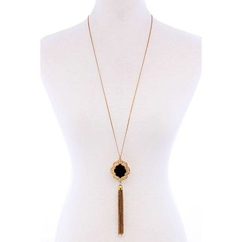 Stylish Chain Tassel Drop Long Necklace
