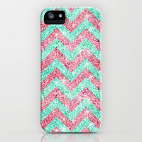 Chevron Pattern, pink & teal glitter photo print iPhone Case by Girly Trend | Society6