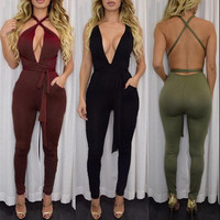 10 colors Women Fashion Pocket Rompers and Jumpsuit 2016 Autumn Sexy Cross Playsuit Bodysuits Elegant Bandage Plus Size XD259