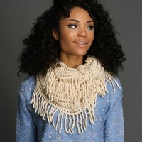 Sale-ivory Open Knit Circle Scarf