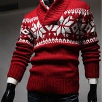 Mens Christmas Snow Patterned Sweater