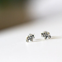 Tiny Elephant Stud Earrings, Elephant Ear Studs, Tiny Elephant Studs, Silver Elephant Earrings, Cartilage Earrings, Elephant Earrings