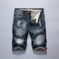Summer Ripped Holes Denim Shorts Men Casual Slim Stretch Men's Fashion Jeans [10699377539]