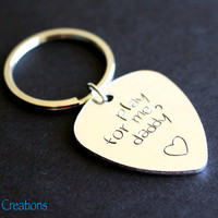 Guitar Pick Keychain, Play for Me Daddy, Fathers Day Gift, Hand Stamped Aluminum Key Chain, Gift for Dad