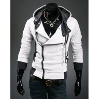 Mens Casual Winter Slim Cardigan Hooded Sweatshirt Outerwear Jacket-White