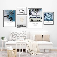 Modern Tropical Landscape Canvas Painting Meaning Travel Seascape Wall Art Pictures Posters Prints for Living Room Decor
