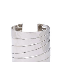 FOREVER 21 Architectural Cutout Cuff Silver One