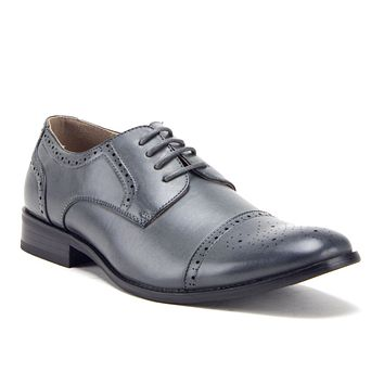 Men's 95733 Leather Lined Perforated Cap Toe Oxford Dress Shoes