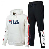FILA 2018 autumn and winter new casual long-sleeved sweater hooded plus velvet sportswear two-piece white