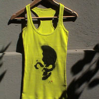 Summer Neon Top with Hand Painted Black Skull / Casual Tank