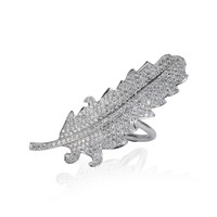 White Diamond Leaf Ring