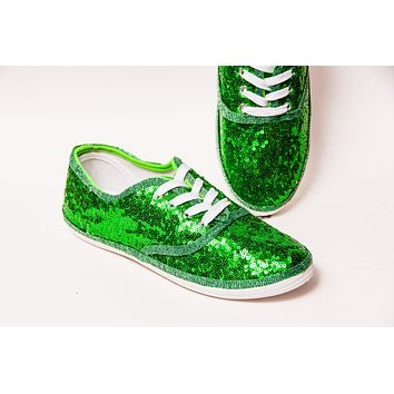 Kelly Green Sequin Sneakers