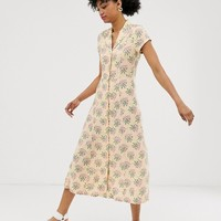 Monki floral print button through midi dress in yellow | ASOS