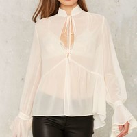 Nasty Gal Collection Out to Sea Ruffle Blouse
