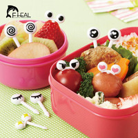 10pcs pack Cute Easy to Sign Mini Eye Cartoon Fruit Fork Plastic Fruit Toothpick Bento Lunch For Children Decorative Tableware