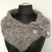 REGULAR PRICE Gray Chunky Short Scarf Cabled Brown Silver Gray Infinity Toggles