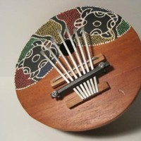 Handmade, Hand-Painted, Coconut Percussion Instrument, San Blas Islands, 6 1/2 Inches