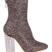Shine On Chunky Heeled Glitter Ankle Boots