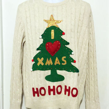 Ugly Christmas Sweater, Grinch Sweater, Christmas Sweater, Christmas Tree, Ugly Sweater Party, White Sweater Item #7