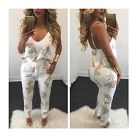 Women's Fashion Sexy V-neck Print Pants Bottom & Top [8035748737]