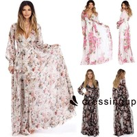 Ladies Boho Maxi Summer Beach Long Skirt Cocktail Party Floral Dress