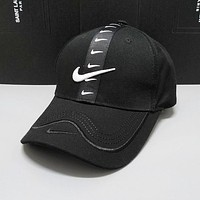 Nike Summer New Women Men Embroidery Sports Cap Baseball Cap Hat Black