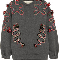 Stella McCartney - Embroidered cotton and wool-blend jersey sweatshirt
