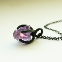 Handmade Silver Amethyst Necklace, 925 SilverAmethyst Rock Necklace, Unique Gift
