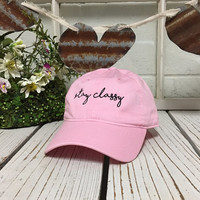 STAY CLASSY Baseball Hat Low Profile Embroidered Light PINK Baseball Caps Dad Hats Black Thread