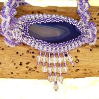 Handcrafted Purple Agate Slice Seed Bead Necklace Set