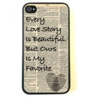 For iPhone 4 Case - Protective Case for iPhone 4/4s Case- Love Story