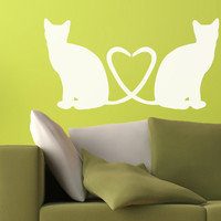 Pussy Cats in Love Wall Decal - Lovely Cat Vinyl Decor