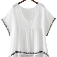 White V Neck Embroidery Trim Batwing Sleeve Blouse