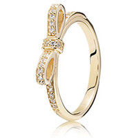 Authentic Pandora Jewelry - 14K Sparkling Bow Ring Clear CZ