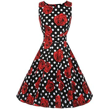 VINTAGE ROSE & POLKA DOT SWING DRESS