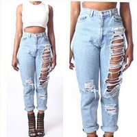 Women Cool Destroyed Denim Pants Workout Holes Jeans Boyfriend Jeans Hole Openings Denim Jeans Pants Women Clothing SM6
