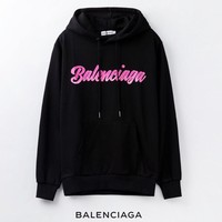 Balenciaga New fashion letter print hooded couple long sleeve sweater top Black