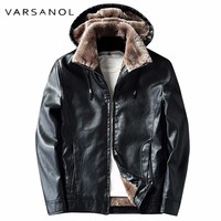 Hoodies Pu Leather Men Jacket Warm Wool Liner Thick Coats For Men  Polyester Zipper Pocket Tops