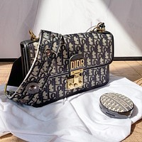 Dior Canvas Printed Letter Gold Buckle Women's Chain Bag Crossbody Bag