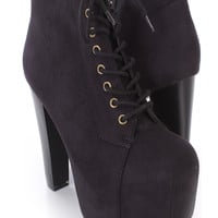 Black Lace Up Closed Toe Chunky Heel Booties Faux Suede
