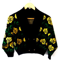 Retro/50s/60s/knitted/yellow flower/ button up/cropped/reversible knitted warm/wool jacket/cardigan