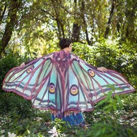 Pastel Mesh Butterfly Moth Shawl Cape Dance Costume Rave Wear Halloween