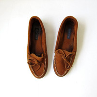 Vintage Brown Suede Loafers / Deck Shoes / Moccasins