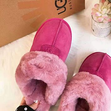 """""""UGG"""" Winter Popular Women Men Warm Flat Snow Ankle Slipper Shoes Boots Rose Red"""