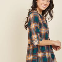 Creative Career Conference Button-Up Top in Teal Plaid | Mod Retro Vintage Short Sleeve Shirts | ModCloth.com