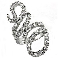 Snake Rhodium Brass Ring with AAA Grade CZ
